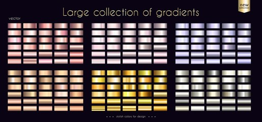 Gold metallic rosy collection of gradients Large set of fashion palettes Vector template