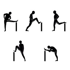 Stretching Exercise Icon Set to stretch arms, legs, back and neck. Vector silhouette. White background.