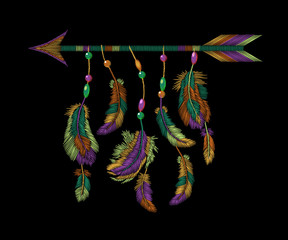 Colorful feathers arrow embroidery. Boho tribal clothes american indian bird motif ethnic embroidered background. Fashion template design vector illustration