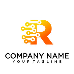 Connect Letter r Logo Design Template Element