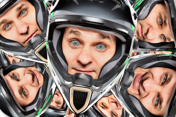 Multiple portrait of a cheerful biker with hypnotic circles in his eyes