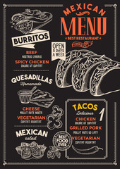 Mexican restaurant menu. Vector food flyer for bar and cafe. Design template with vintage hand-drawn illustrations.