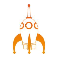 Rocket spaceship cartoon on orange lines vector illustration
