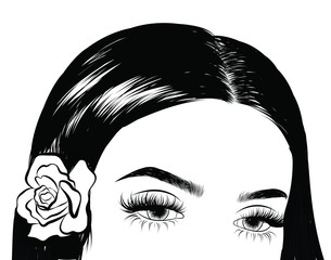 Illuistration of a girl with silky hair with flower on the head. Perfect salon look.Trendy poster for textile, fabric, web, wallpaper, poster, home design, office design.