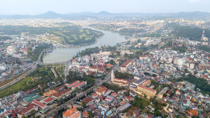 Aerial view from the drone to Dalat city.  Located on the Langbian Plateau in the southern parts of the Central Highlands region of Vietnam