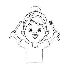 Beautiful little girl holding cutlery cartoon on black and white sketch colors vector illustration