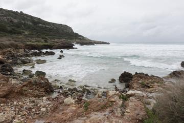 Rocky coast in Son Bou, Menorca, Balearic Islands, Spain
