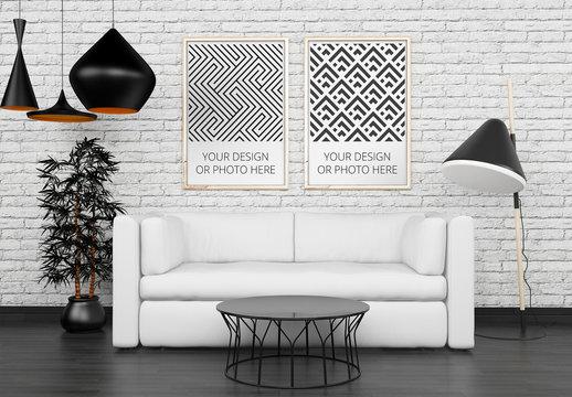 2 Vertical Posters Above Living Room Sofa Mockup