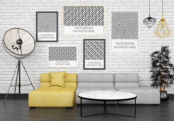 5 Posters Above Living Room Sofa Mockup