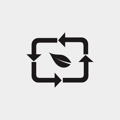 recycle logo design with leaf and arrow