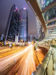 Traffic on streets of Hong Kong at night, China
