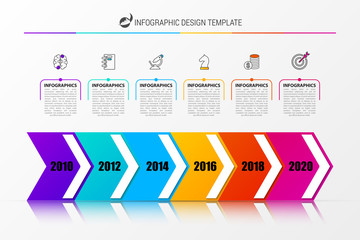 Timeline. Infographic design template with 6 steps