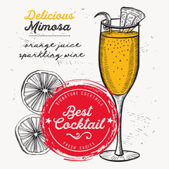 Cocktail mimosa for bar menu. Vector drink flyer for restaurant and cafe. Design poster with vintage hand-drawn illustrations.