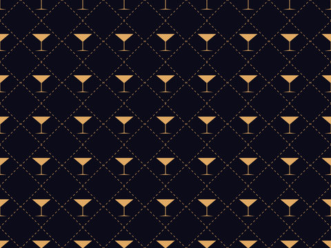 Art deco seamless pattern with a glass of martini. Alcohol cocktail style of the 1920s - 1930s. For invitations, leaflets and greeting cards. Vector illustration