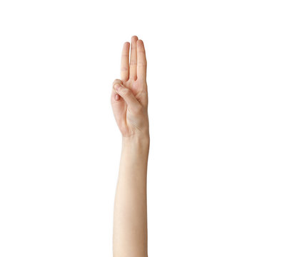 Scout honor hand gesture on white background