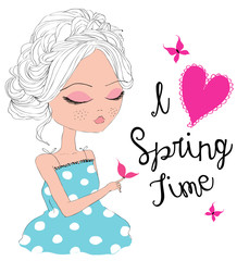 I love spring time, girl with butterflies