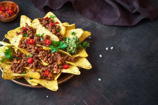 Nachos chips and ground beef