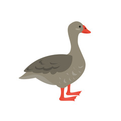 Cartoon goose icon on white background.