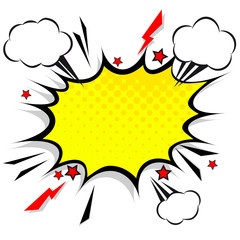 Retro comic design speech bubbles. Flash explosion with clouds, lightning, stars. Pop art vector elements.