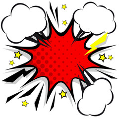 Retro comic design speech bubbles. Flash explosion with clouds, lightning, stars. Pop art vector elements.