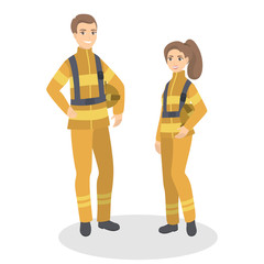 Isolated firefighters couple.