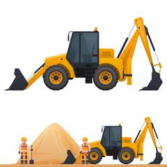 Vector picture of an excavator, excavator, road worker