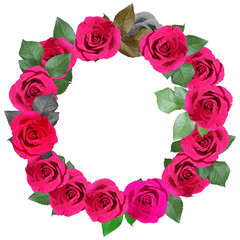 Wreath of crimson roses. Isolated