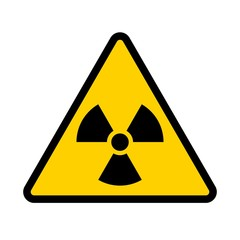 Radioactive contamination symbol. Yellow triangular warning sign of radiation danger. Vector illustration.