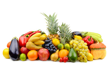 Assortment of fruits, vegetables, berries isolated on white