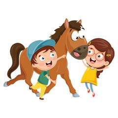 Aluminium Prints Wild West Vector Illustration Of Cartoon Kids With Horse