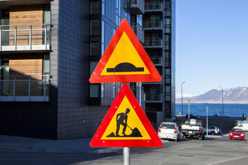 A road construction sign in Reykjavik