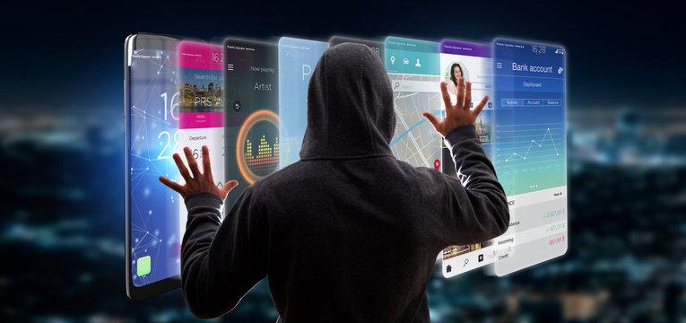 Hacker activating 3d rendering app template on a smartphone