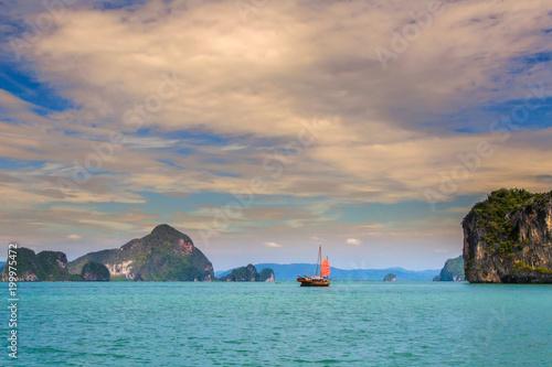 Thailand  The island of Phuket  A lonely sailboat  Sea
