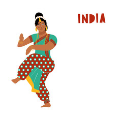 Vector India dance woman. Bollywood style dancer white background isolated