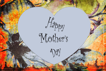 Greeting card, heart on a colorful background to celebrate mother's day.
