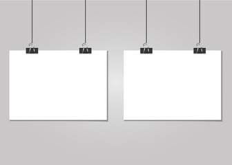 Set of clear list of paper with pin on a grey background
