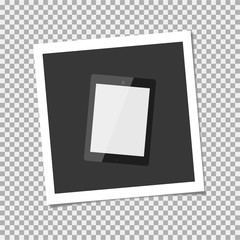 Photo frame with tablet. Vector illustration
