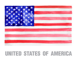 Watercolor illustration of national flag of United States of America