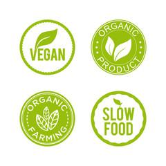 Healthy food icon set. Vegan, organic product, organic farming and slow food icons. Vector illustration.