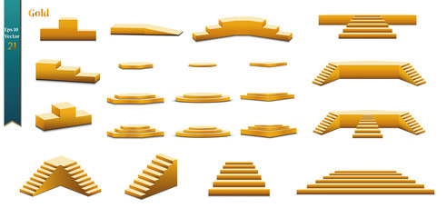 Set of golden catwalks with a spotlight on a white background, first place, fame and popularity. Vector illustration
