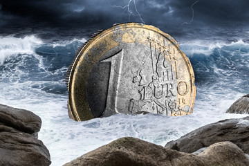 euro european currency crisis one coin inflation finance market crash concept sinking in the ocean background