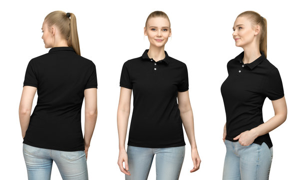 Set promo pose girl in blank black polo shirt mockup design for print and concept template young woman in T-shirt front and half turn side back view isolated white background