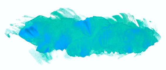 blue shape watercolor ink hand drawn paper grain texture isolated stain on white background for decoration, text design, template. Abstract water color brush splash element