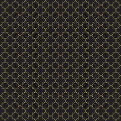 Fancy gold ornate background texture in vector format. Geometric quatrefoil trellis pattern wallpaper.