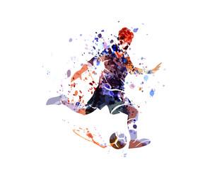 Watercolor silhouette soccer