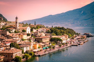Panorama of Limone sul Garda, lake Garda, Italy.