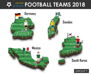 National soccer teams 2018 group F . Football player and flag on 3d design country map . isolated background . Vector for international world championship tournament 2018 concept