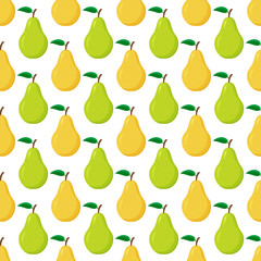 Seamless pattern from ripe green and yellow pears