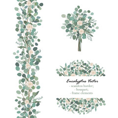 Design elements with white rose flowers and eucalyptus branches. Bouquet, seamless border, frame element. Greeting, wedding invite template