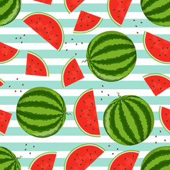 Whole and cut into pieces watermelons
